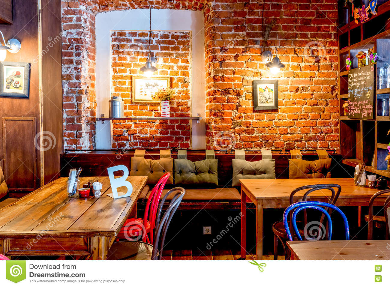 moscow, russia - april 12, 2016: cafe interior brick wall