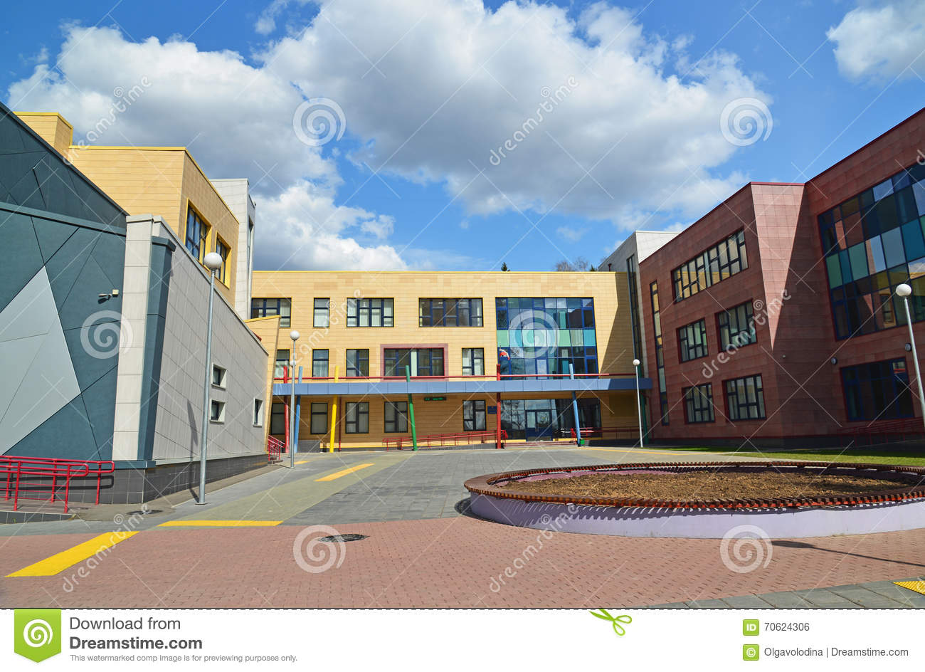 Moscow, Russia-April 24.2016. New City School in 23 district of Zelenograd