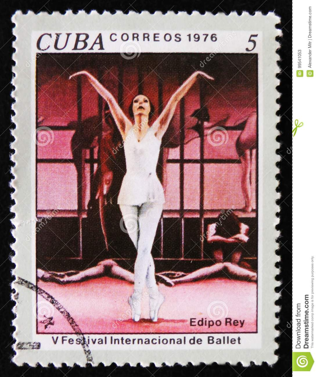 MOSCOW, RUSSIA - APRIL 2, 2017: A post stamp printed in Cuba shows Scene from Ballet Oedipus Rex, 5th International Ballet