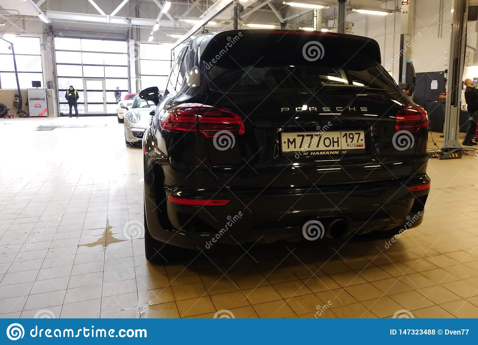 Moscow Russia April 30 2019 Tuned And Super Wide Black Porsche Cayenne In Service Center Modified By Hamann With Exclusive Editorial Stock Photo Image Of Custom Repair 147323488