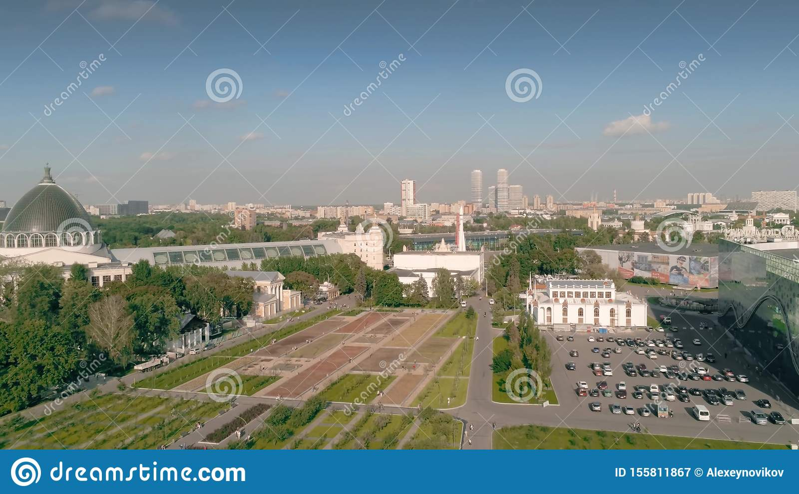MOSCOW, RUSSIA - AUGUST 12, 2019  Aerial View Of The VDNKh
