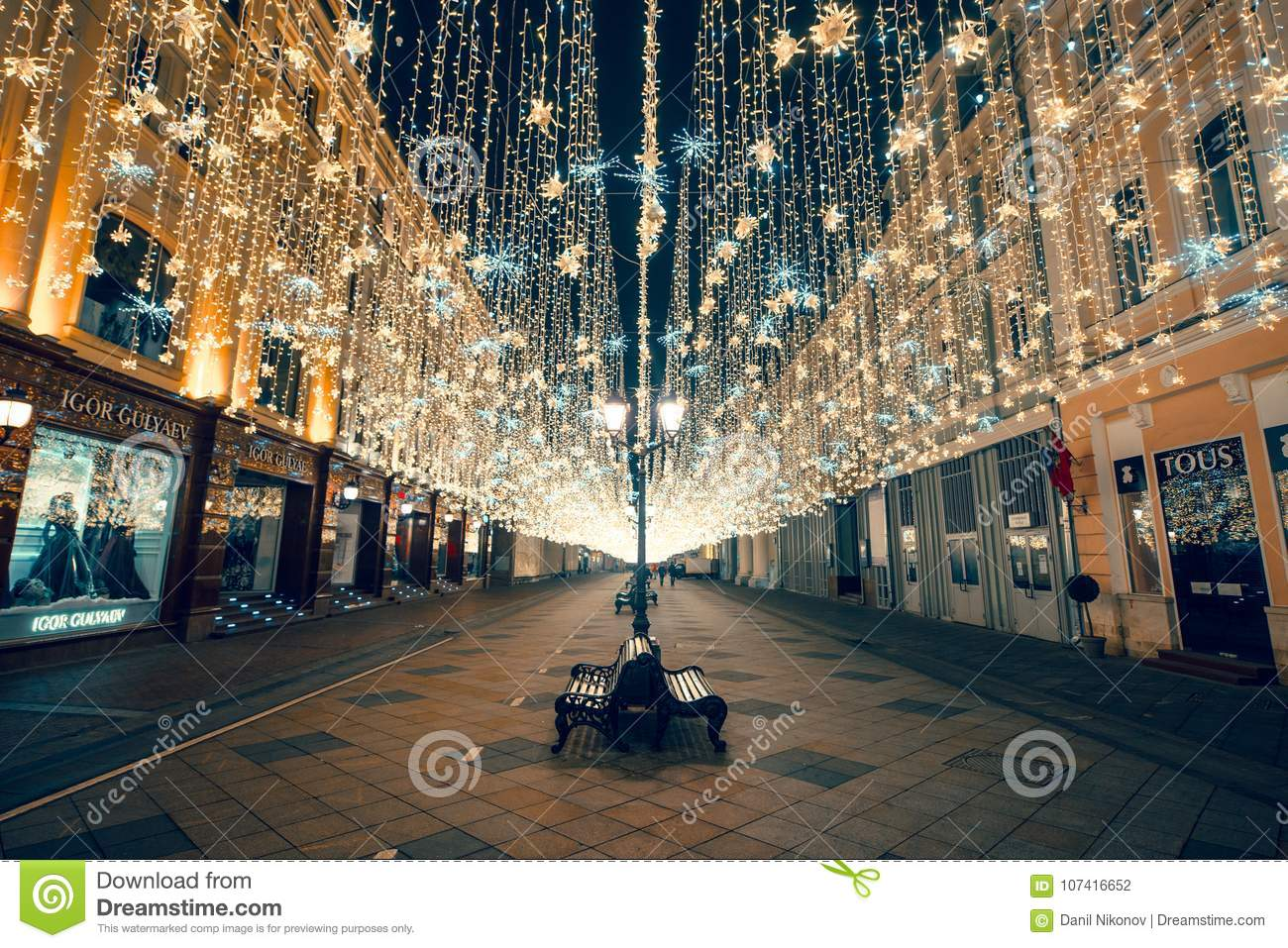 Moscow, Russia, 2018. Christmas and new year lights at Nikolskaya street