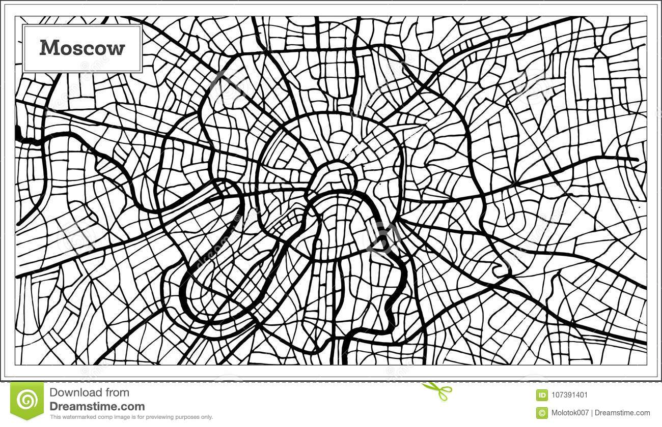 Moscow Russia City Map In Black And White Color Stock ... |Moscow City Coloring