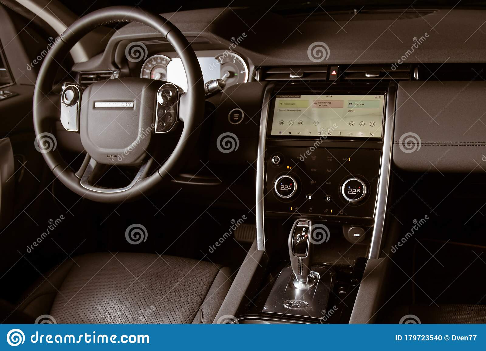 Moscow Russia December 20 2019 Black Leather Interior Of Premium England Suv Land Rover Discovery Sport 2020 Two Lcd Editorial Image Image Of Rover Modern 179723540