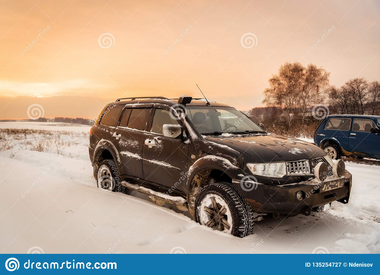 Black Off Road Car Mitsubishi Pajero Sport 4x4 Montero Parked On The Snow Field Editorial Photography Image Of Nature December 135254727