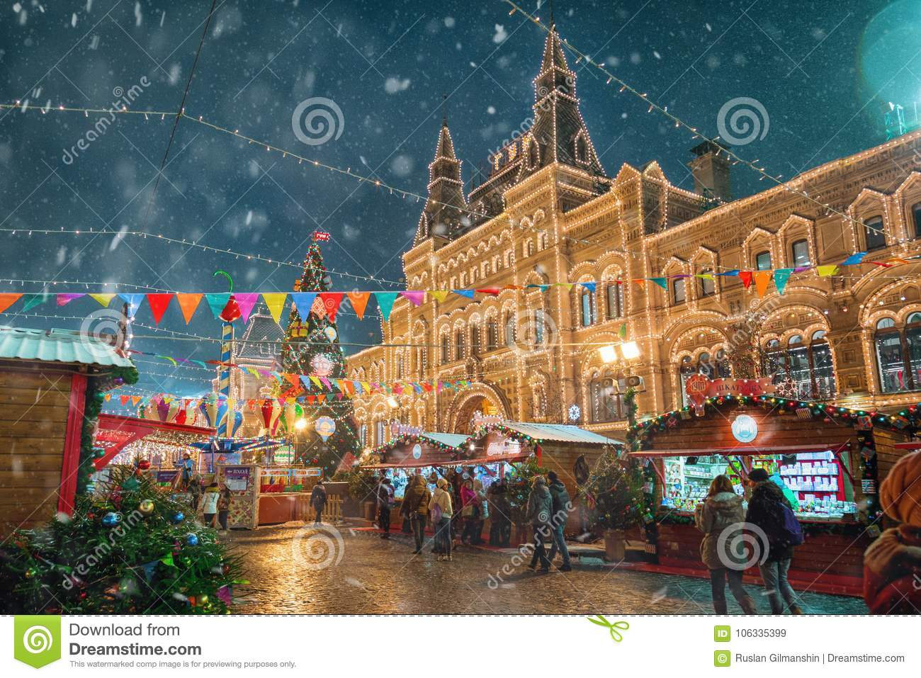 Download Moscow, Russia - December 5, 2017: Christmas Tree Trade House GUM On Red Square In Moscow, Russia Editorial Stock Image - Image of architecture, history: 106335399