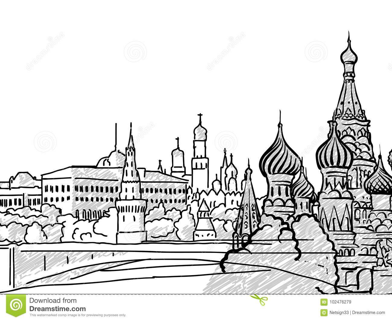 Moscow Russia Famous Travel Sketch Stock Vector