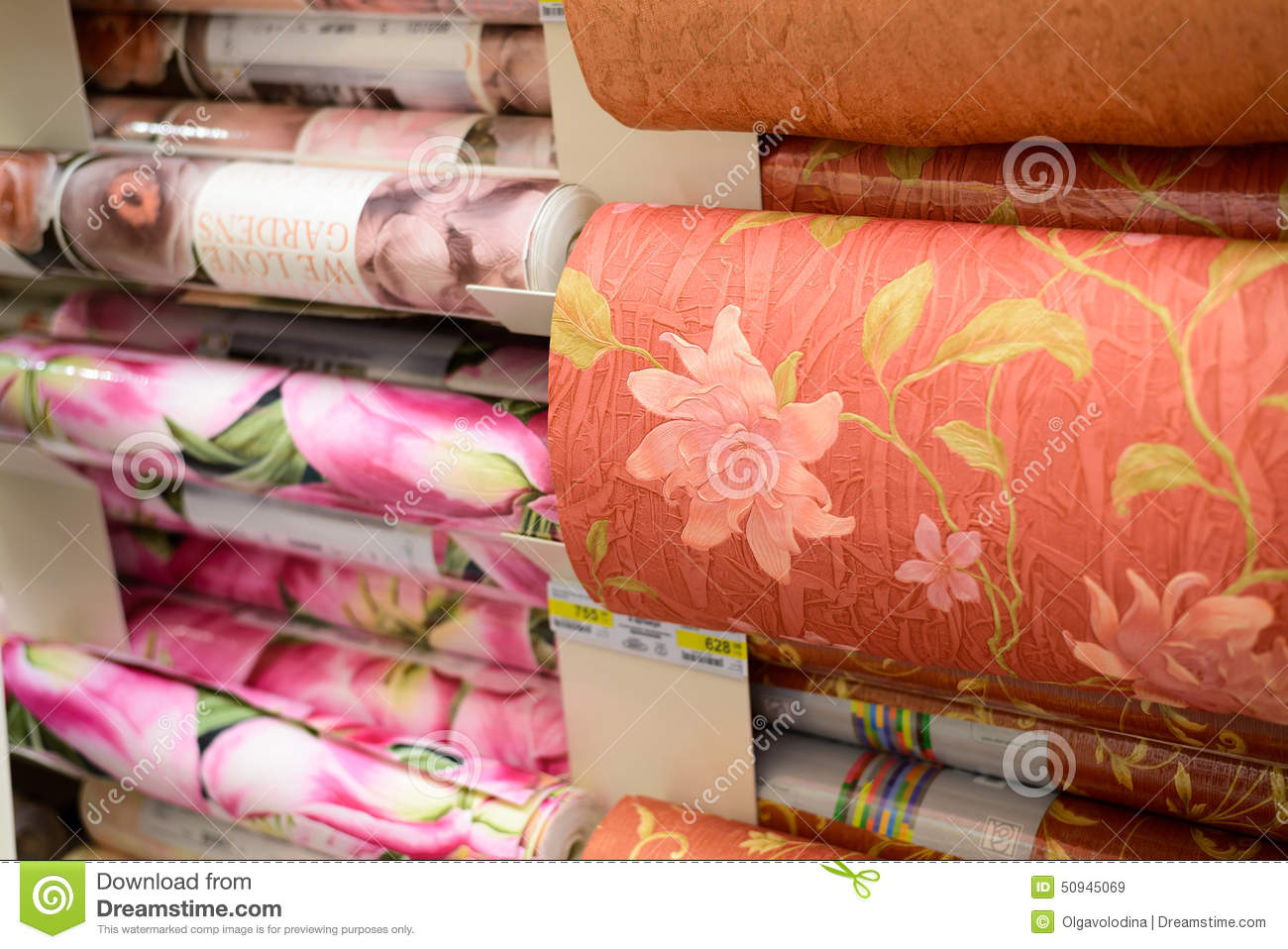 Moscow russia february 15 201 roll of wallpaper in for Carta da parati leroy merlin