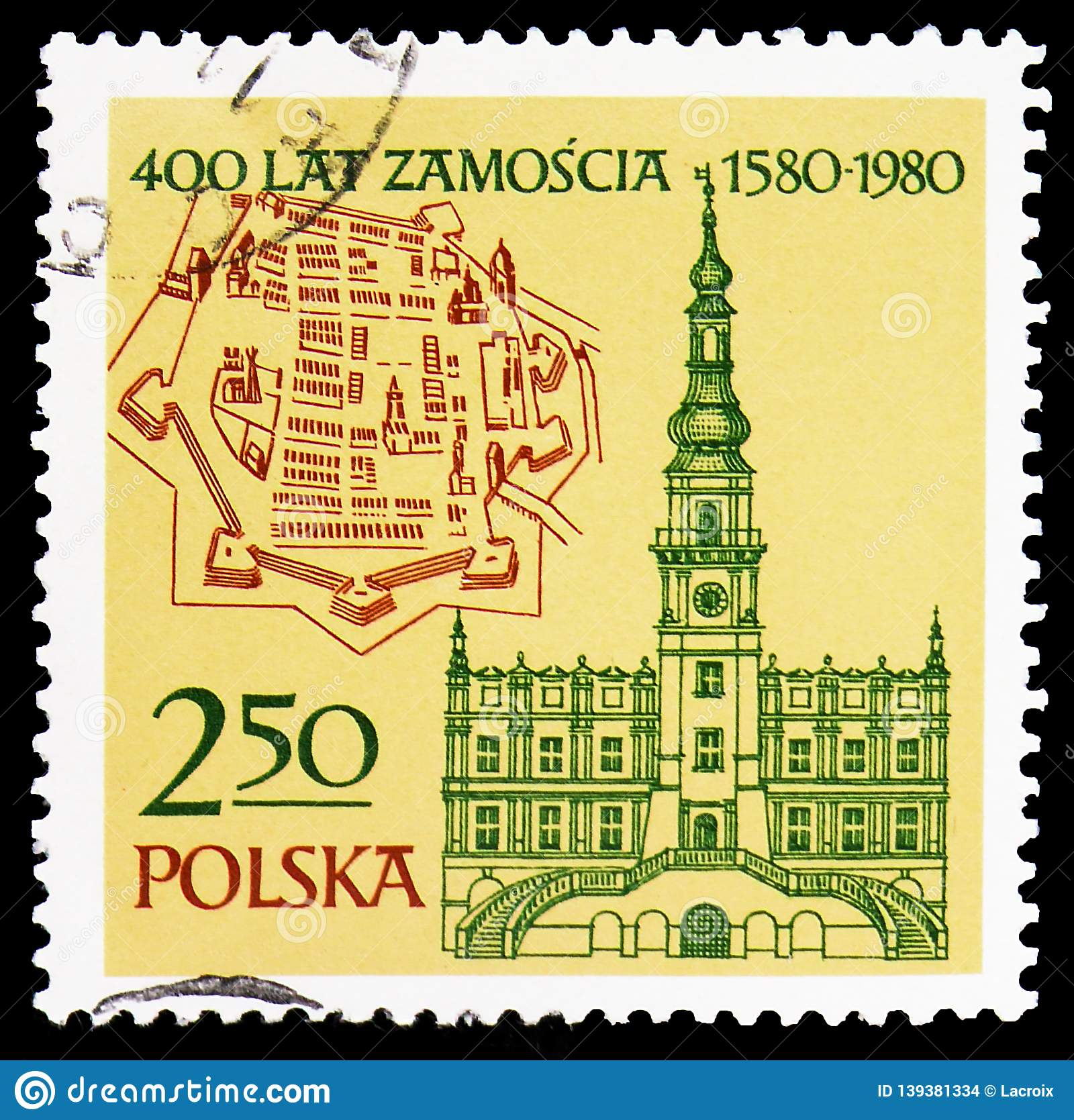Map And Old Town Hall 1591 400th Anniversary Of Zamosc Serie Circa 1980 Editorial Stock Image Image Of Engraving National 139381334