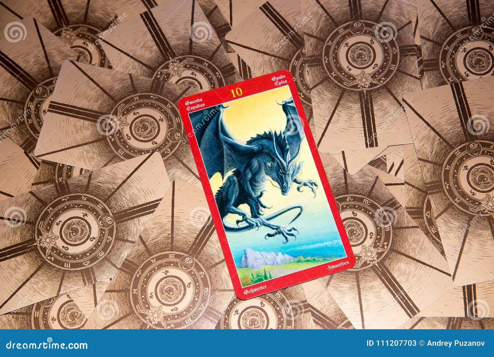 Tarot Card Ten Of Swords  Dragon Tarot Deck  Esoteric