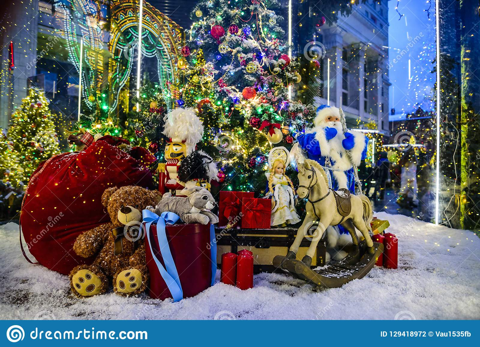 Composition based on the fairy tale `12 months` on Manezhnaya Square during the celebration of Christmas and New Year.