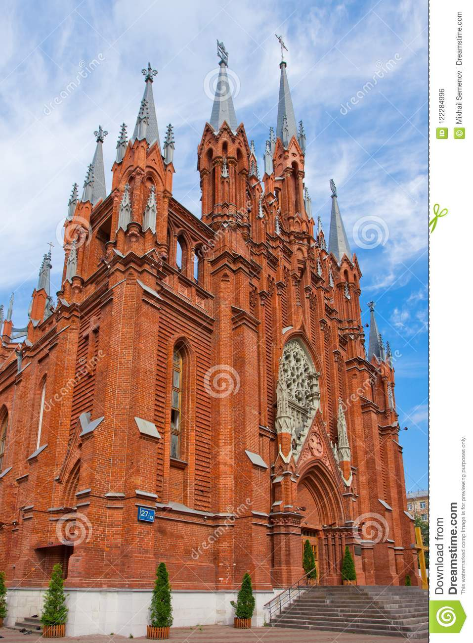 The Facade Of The Gothic Cathedral On The Side Stock Photo Image