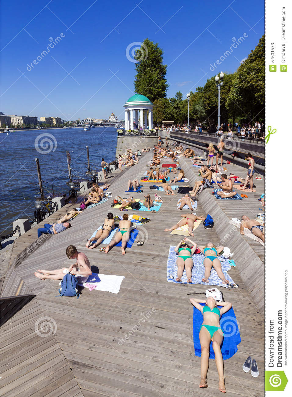 Moscow Russia July 4 Olive Beach In Gorky Park On The