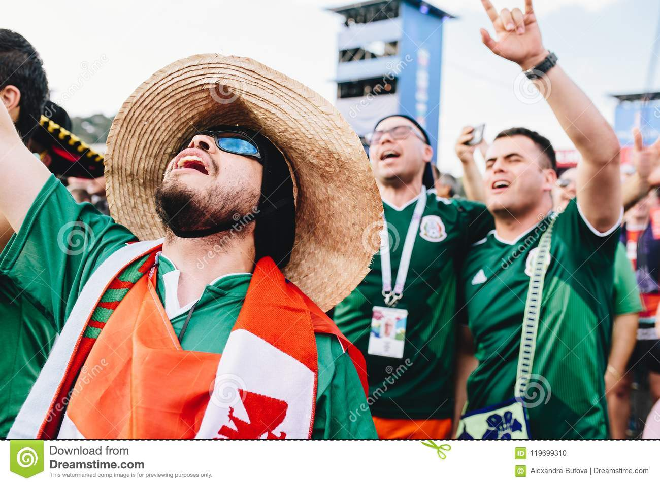 MOSCOW, RUSSIA - JUNE 2018: Happy Mexican Fans In Uniform