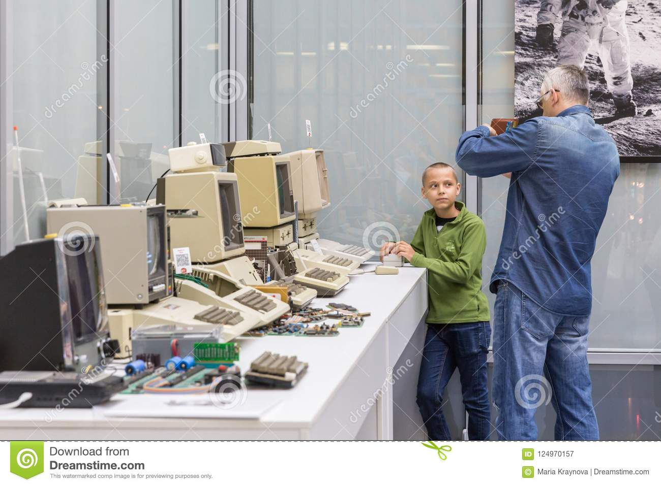MOSCOW, RUSSIA - JUNE 11, 2018: Old original Apple Mac computers