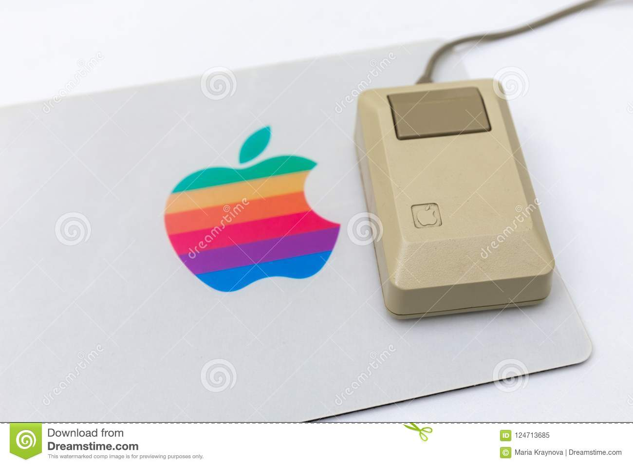 MOSCOW, RUSSIA - JUNE 11, 2018: Old original Apple Mac mouse