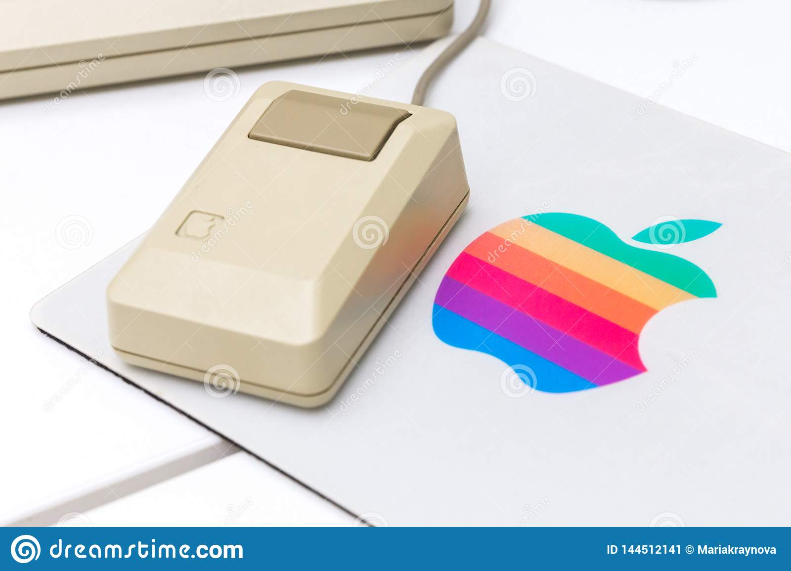 MOSCOW, RUSSIA - JUNE 11, 2018: Old original Apple Mac mouse in museum in Moscow, Russia