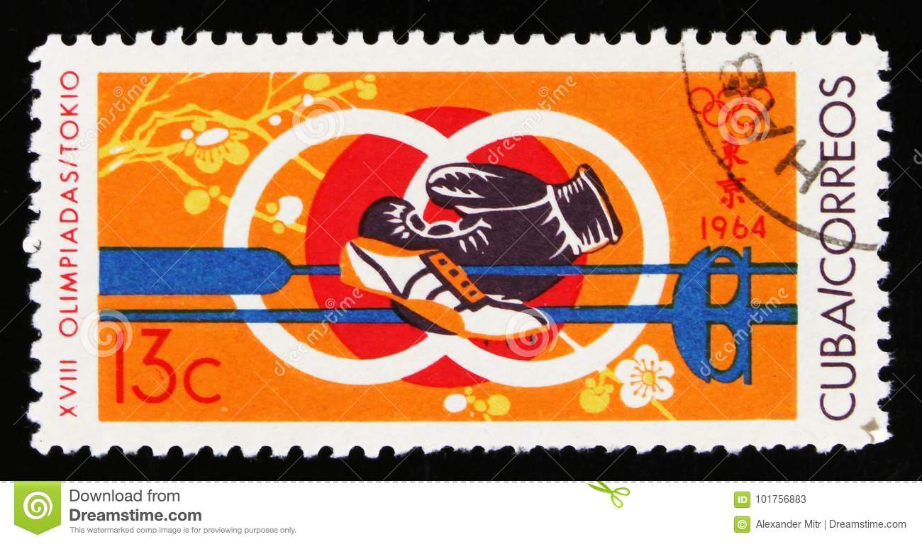 Symbol Of 18th Olympic Games In Tokyo Circa 1964 Editorial Stock