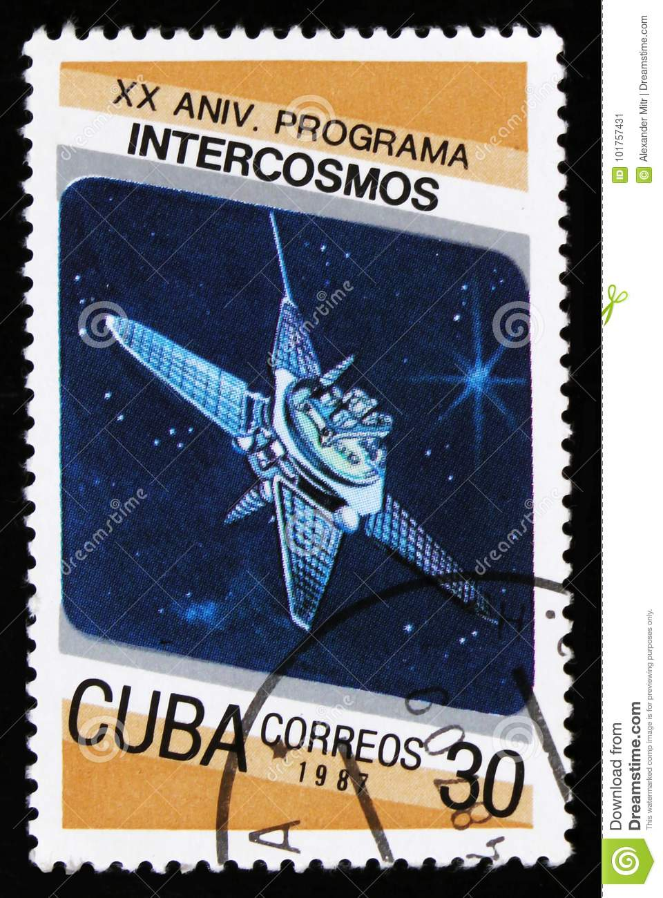 Cuba from the 20th anniversary of Intercosmos program issue shows space satellite, circa 1987