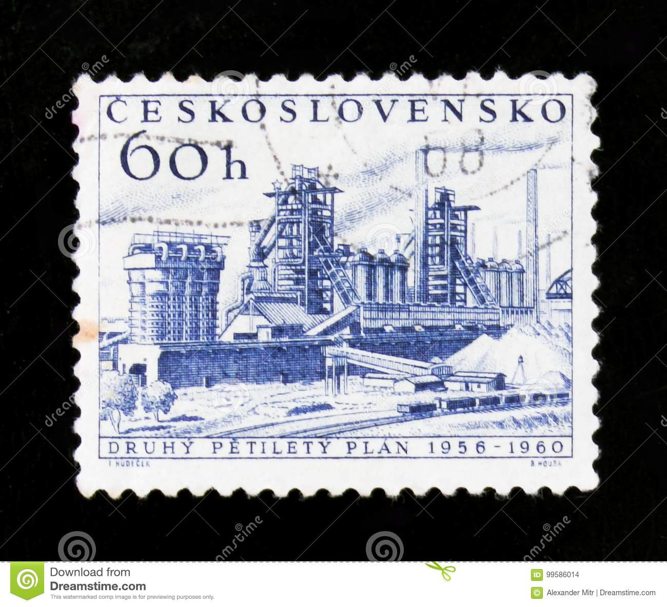 MOSCOW, RUSSIA - JUNE 20, 2017: A stamp printed in Czechoslovakia shows shows oil refinery; new five year plan, circa 1960