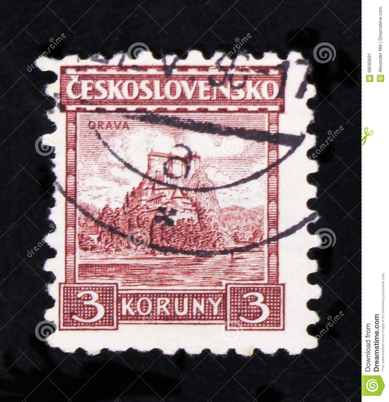 MOSCOW, RUSSIA - JUNE 20, 2017: A stamp printed in Czechoslovakia shows shows Orava castle, circa 1931