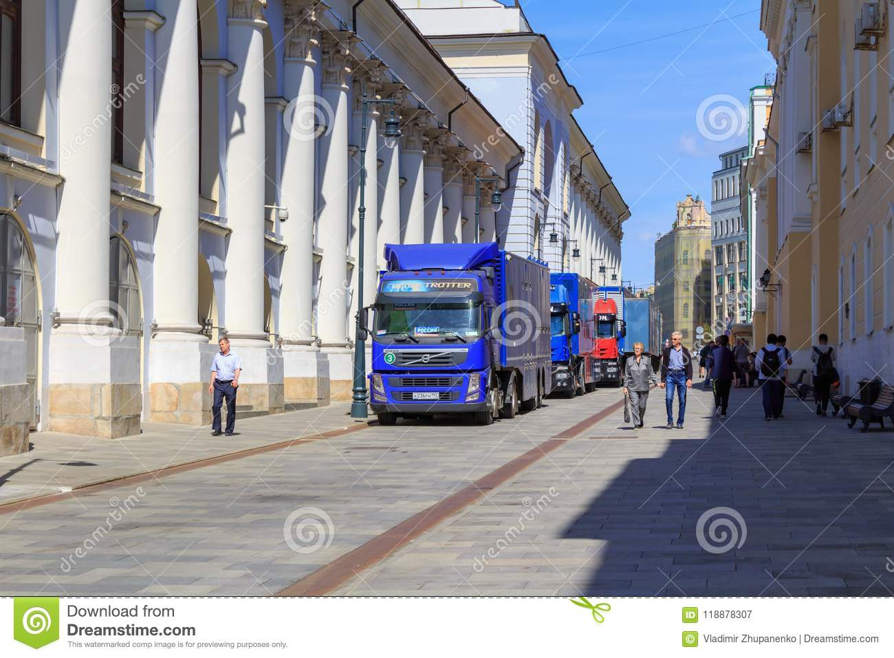 Moscow, Russia - June 03, 2018: Trucks Of Mobile TV Studio Of