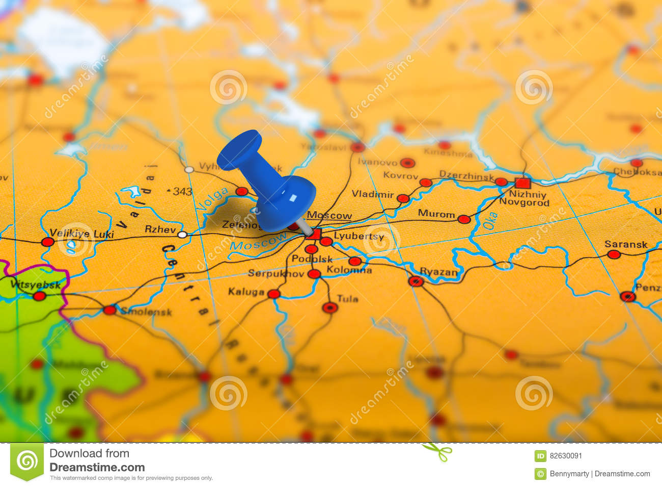 Moscow Russia Map Stock Image Image Of Destination Business 82630091