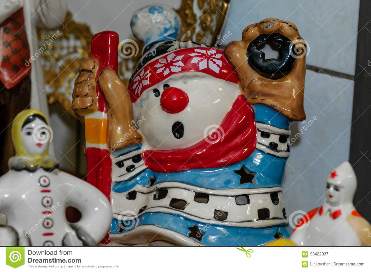 Moscow, Russia - March 19, 2017: Ceramic lamp in the form of a cartoon character, hockey player, snowman-goalkeeper