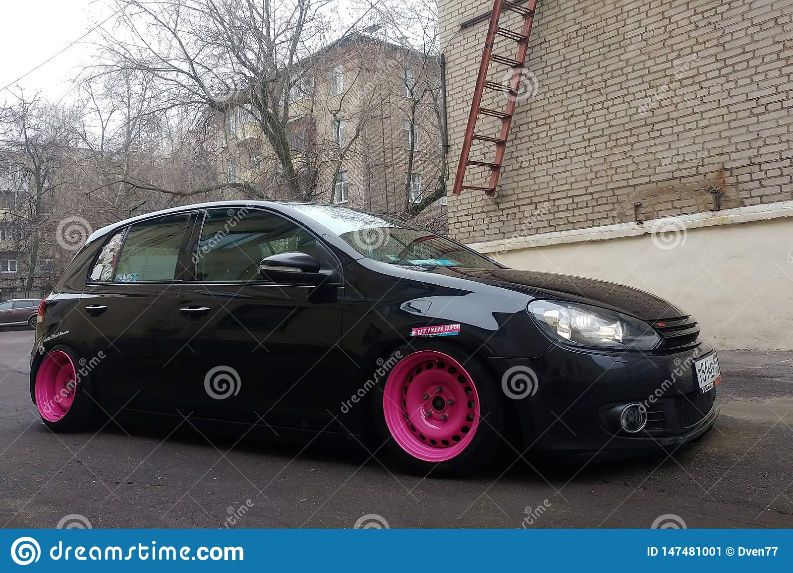 Moscow Russia May 08 2019 A Black Tuned And Understated Volkswagen Golf 6 With Bright Pink Handmade Custom Wheels Stands On Editorial Photo Image Of Modified Volkswagen 147481001