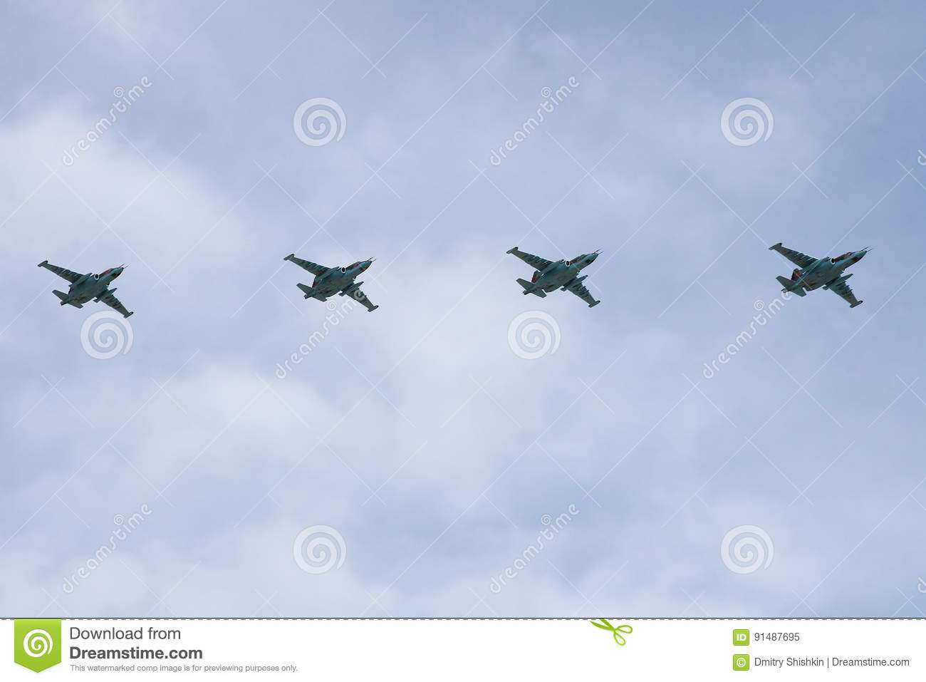 Moscow, Russia - may 09, 2008: celebration of Victory Day WWII parade on red square. Solemn passage of military equipment, flying