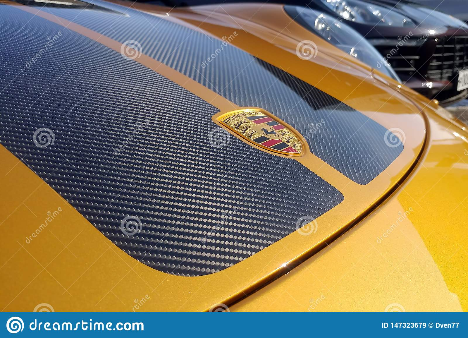 Moscow, Russia - May 09, 2019: Golden Porsche 911 Exclusive series. Limited edition. Number three hundred thirty seven. In the