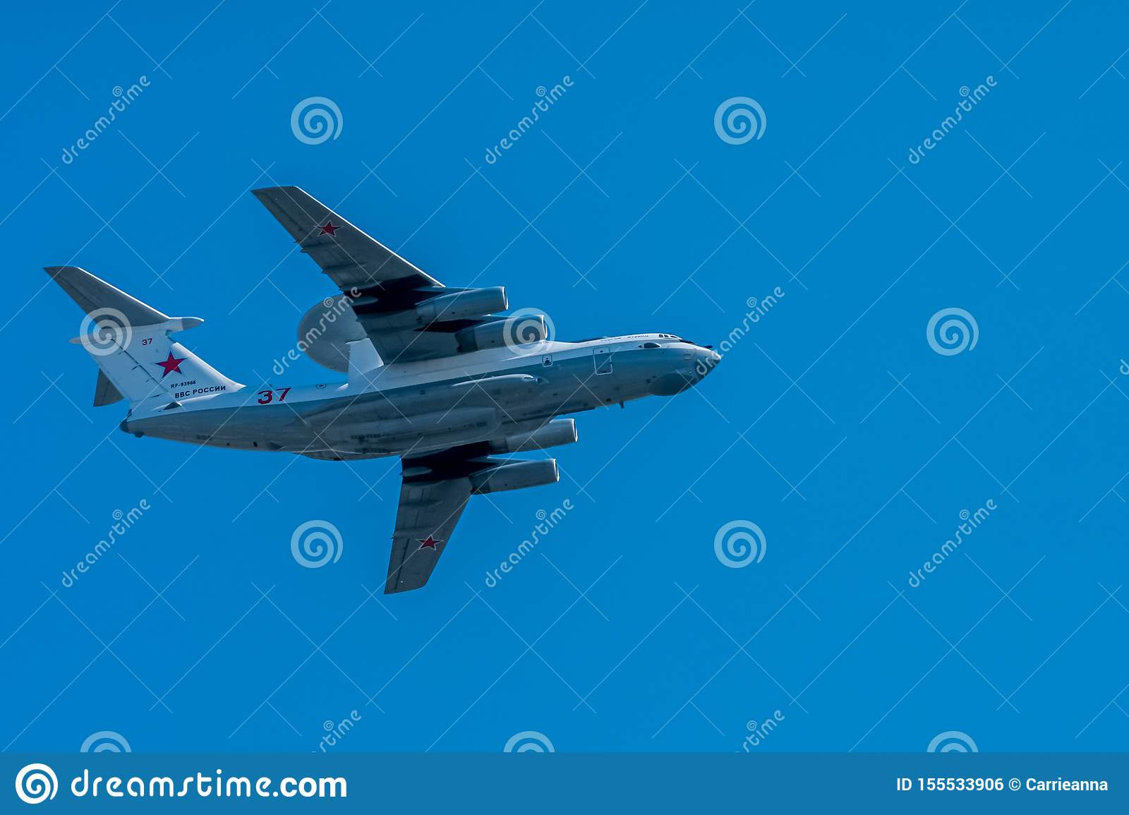 Moscow, Russia - May 09, 2014: RF-93966 Russian Federation Air Force Beriev A-50U. Aviation part of Victory parade 2014 in Moscow