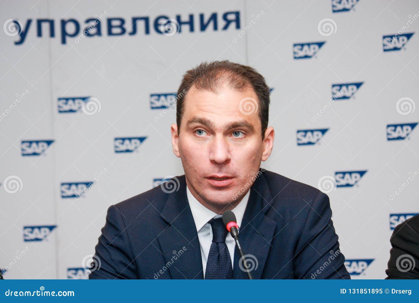 SAP Russia CEO Vladislav Martynov Make Speech At SAP Forum