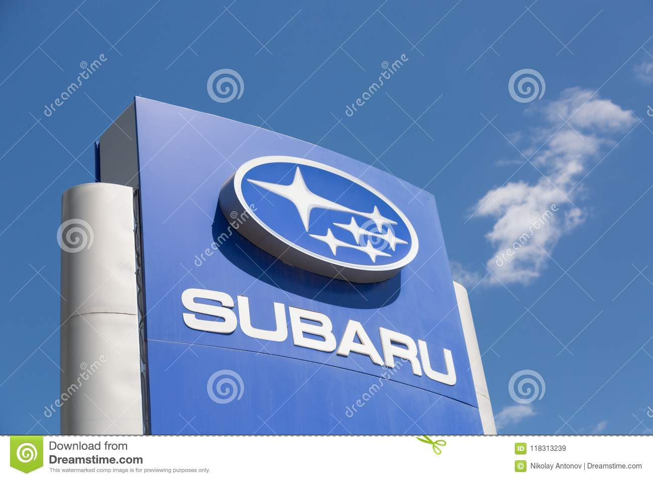 Moscow Russia May 2018 Subaru Automobile Dealership Sign