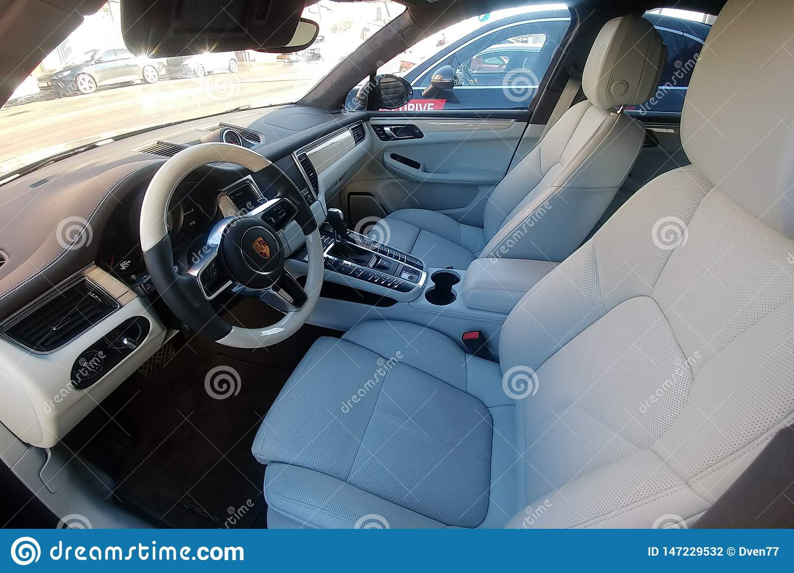 Moscow Russia May 09 2019 White Leather Interior Of An Premium Suv Porsche Macan Parked On The Street Package Trim Car Of Editorial Photography Image Of Airbag Premium 147229532