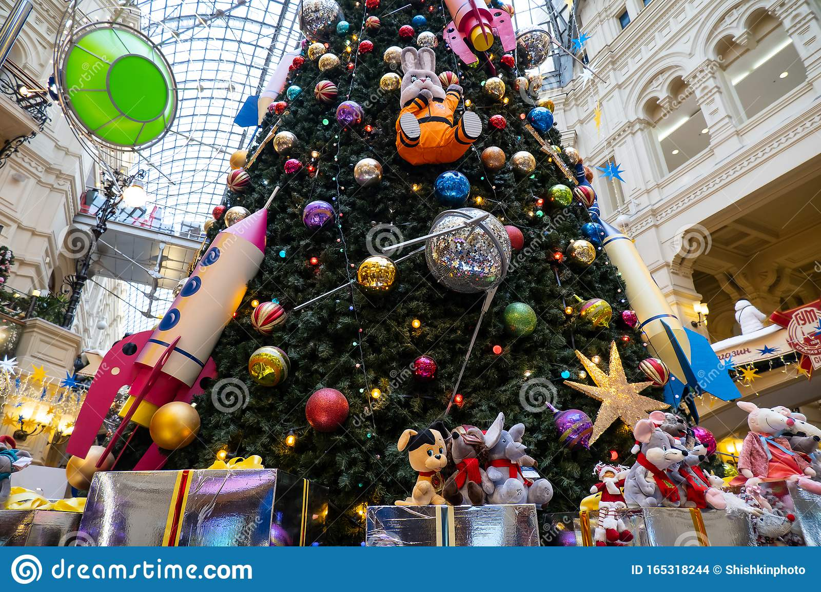 Moscow Russia November 25 2019 New Year Tree With Cartoon Toys In The State Department Store On Red Square Editorial Stock Image Image Of Celebration Design 165318244