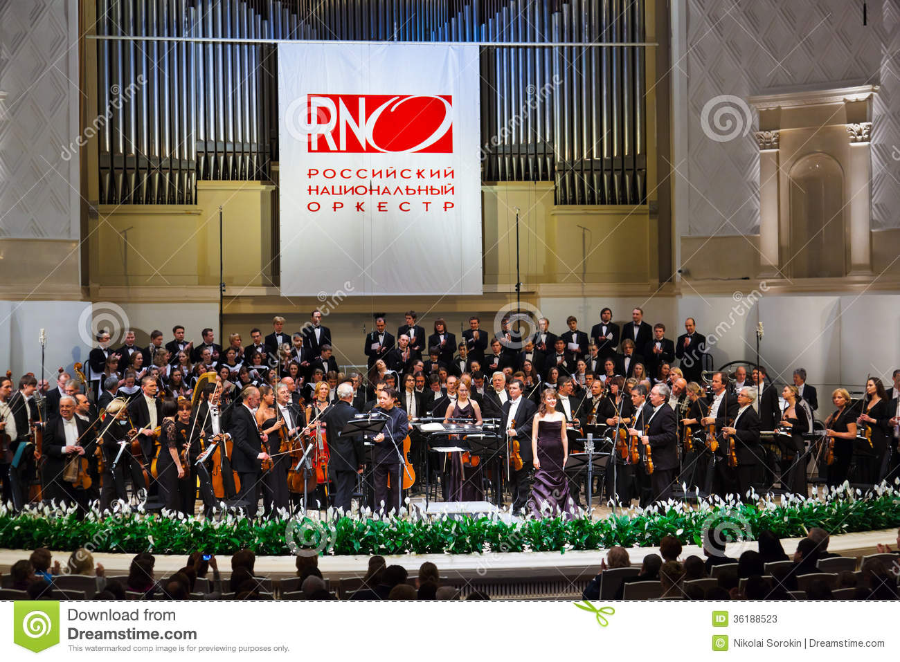 moscow  russia - november 15  russian national orchestra perform editorial stock photo