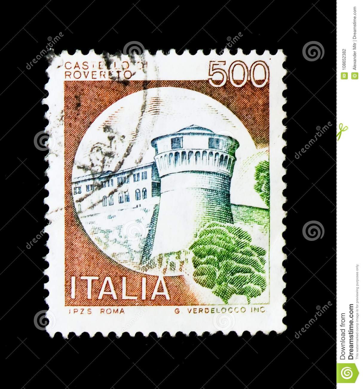 MOSCOW, RUSSIA - NOVEMBER 24, 2017: A stamp printed in Italy shows Castles- Sirmione, serie, circa 1980
