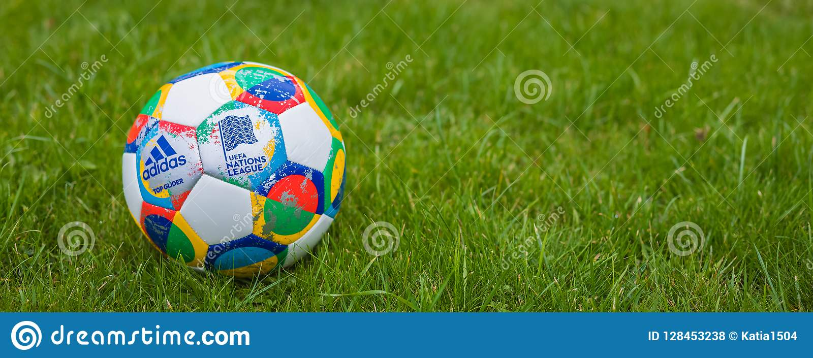 Moscow Russia October 7 2018 Adidas Uefa Nations League Official Match Ball Glider On The Grass Banner Editorial Stock Photo Image Of Glider Colorful 128453238