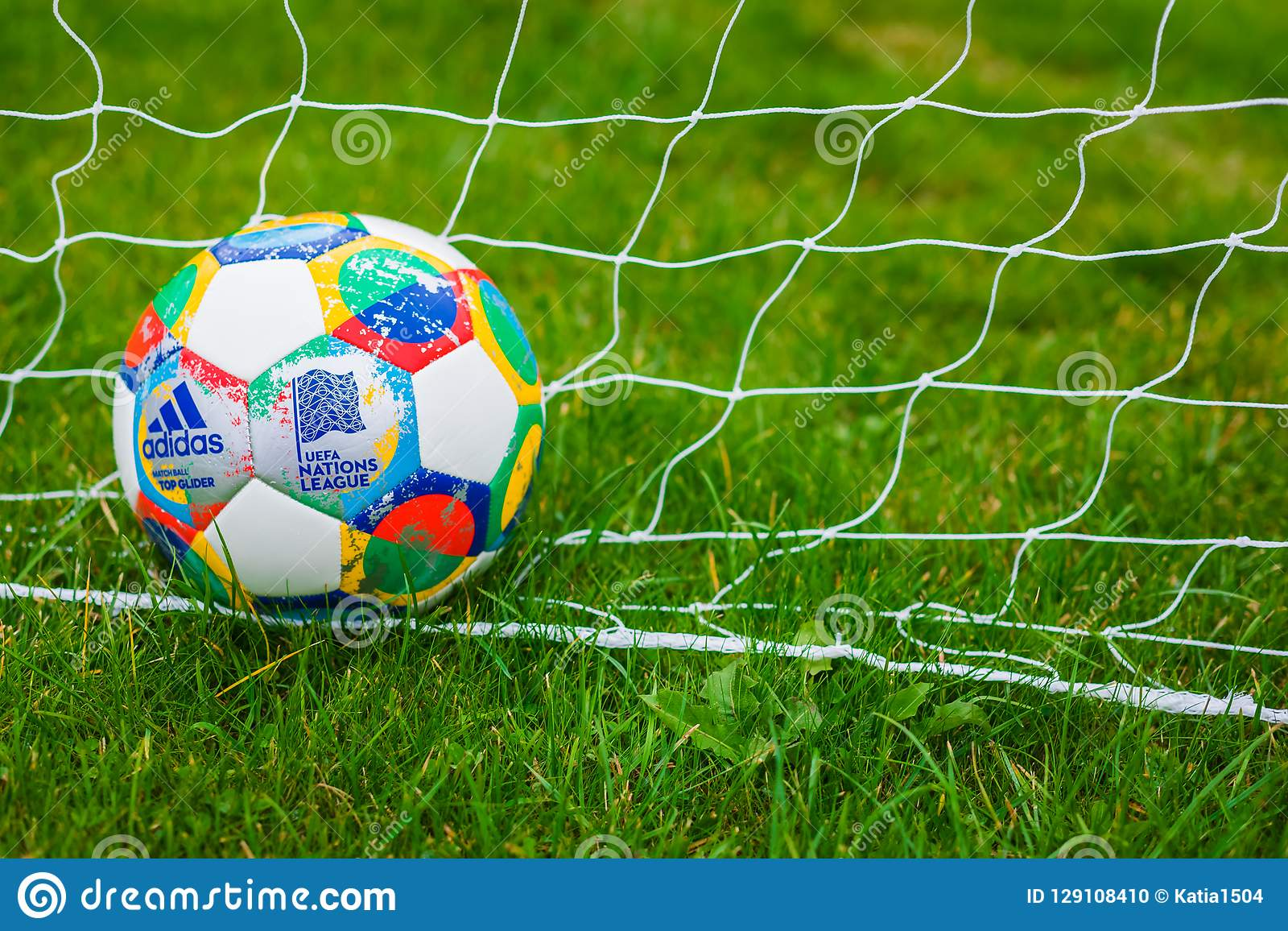 Moscow Russia October 7 2018 Adidas Uefa Nations League Official Match Ball Glider On The Grass Banner Editorial Image Image Of Colorful Circle 129108410