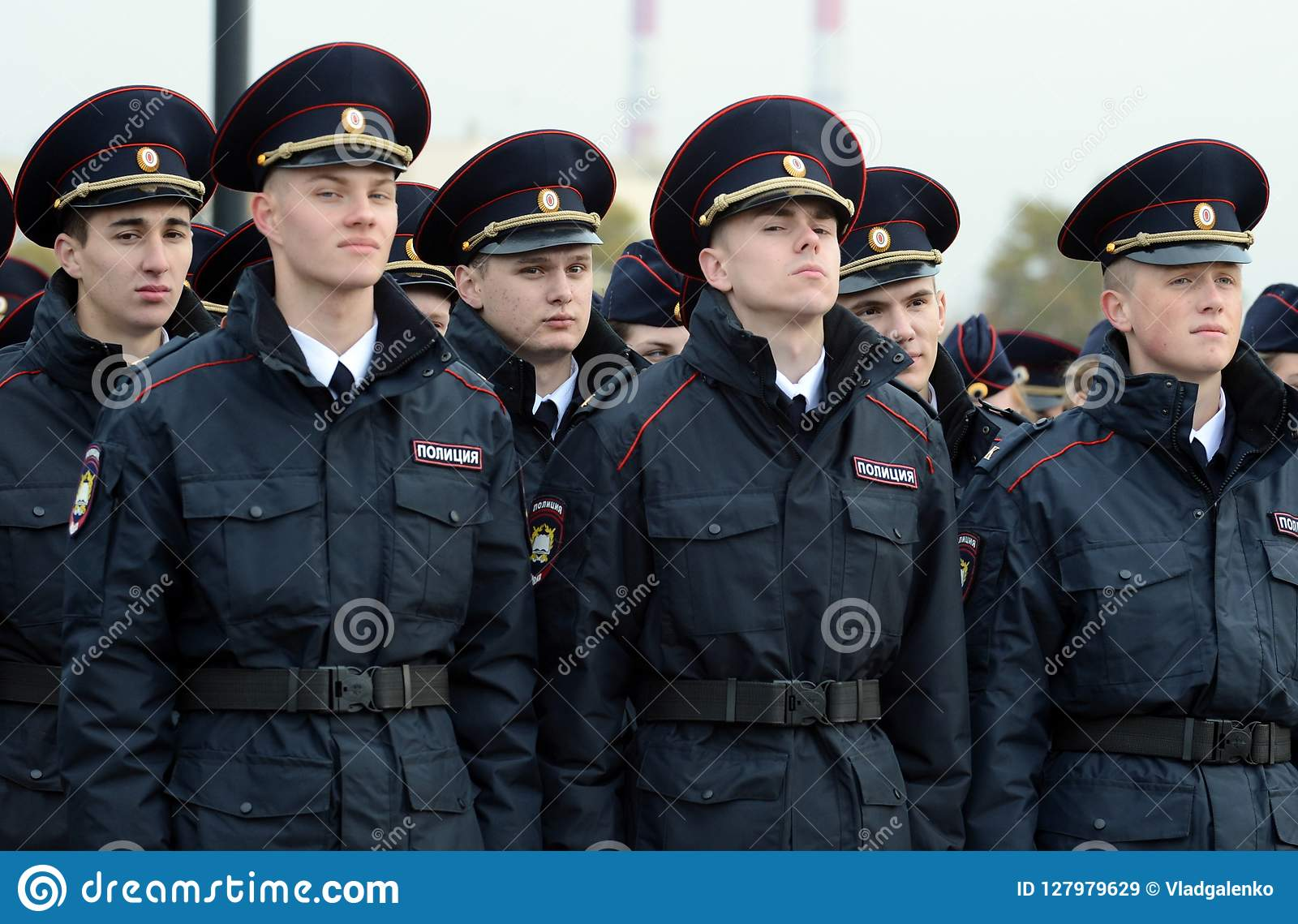 Cadets of the police of the Moscow Law University of the Ministry of Internal Affairs of Russia on the ceremonial building