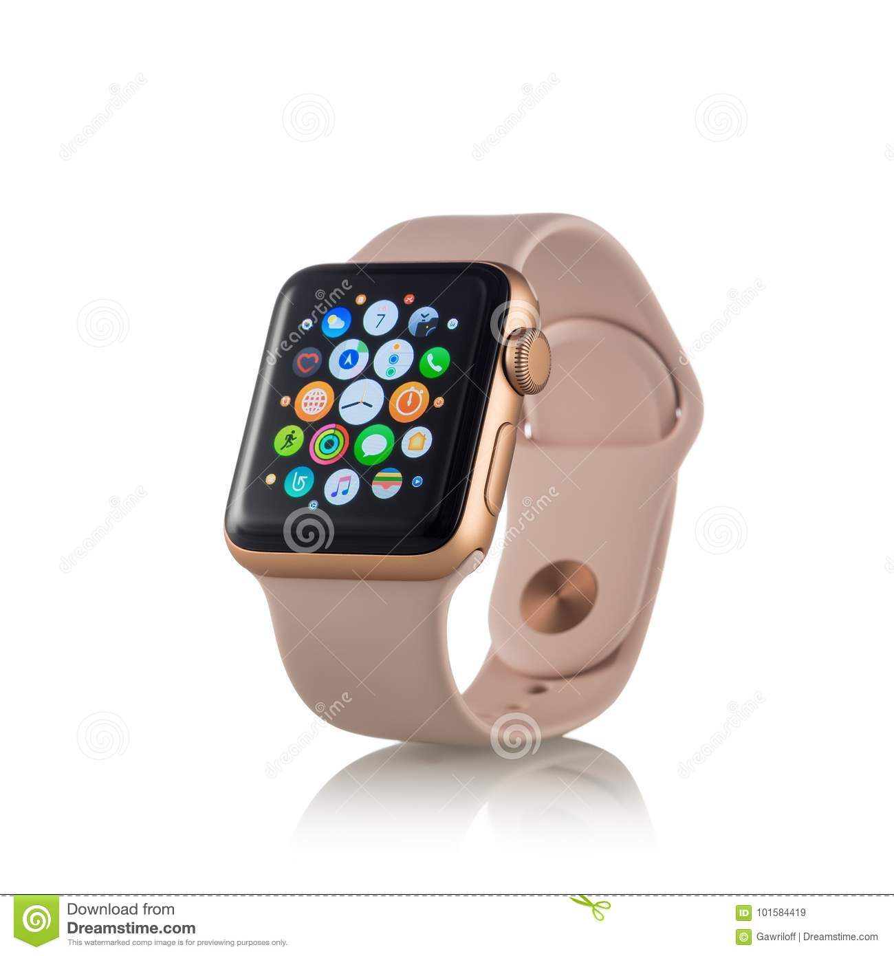Moscow Russia October 07 2017 New Apple Watch Series 3 Gold