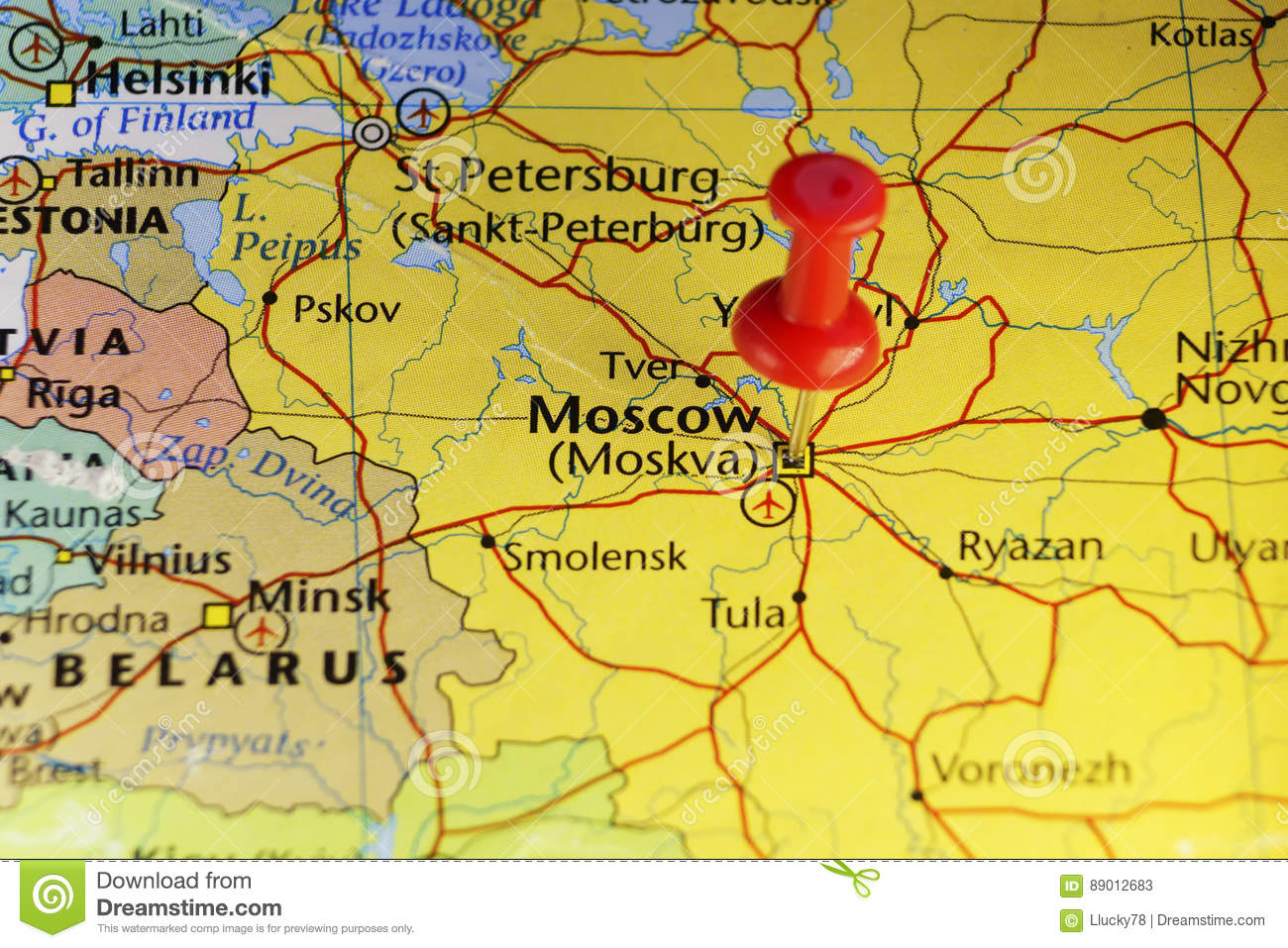 Moscow Russia pinned map stock illustration. Illustration of copy