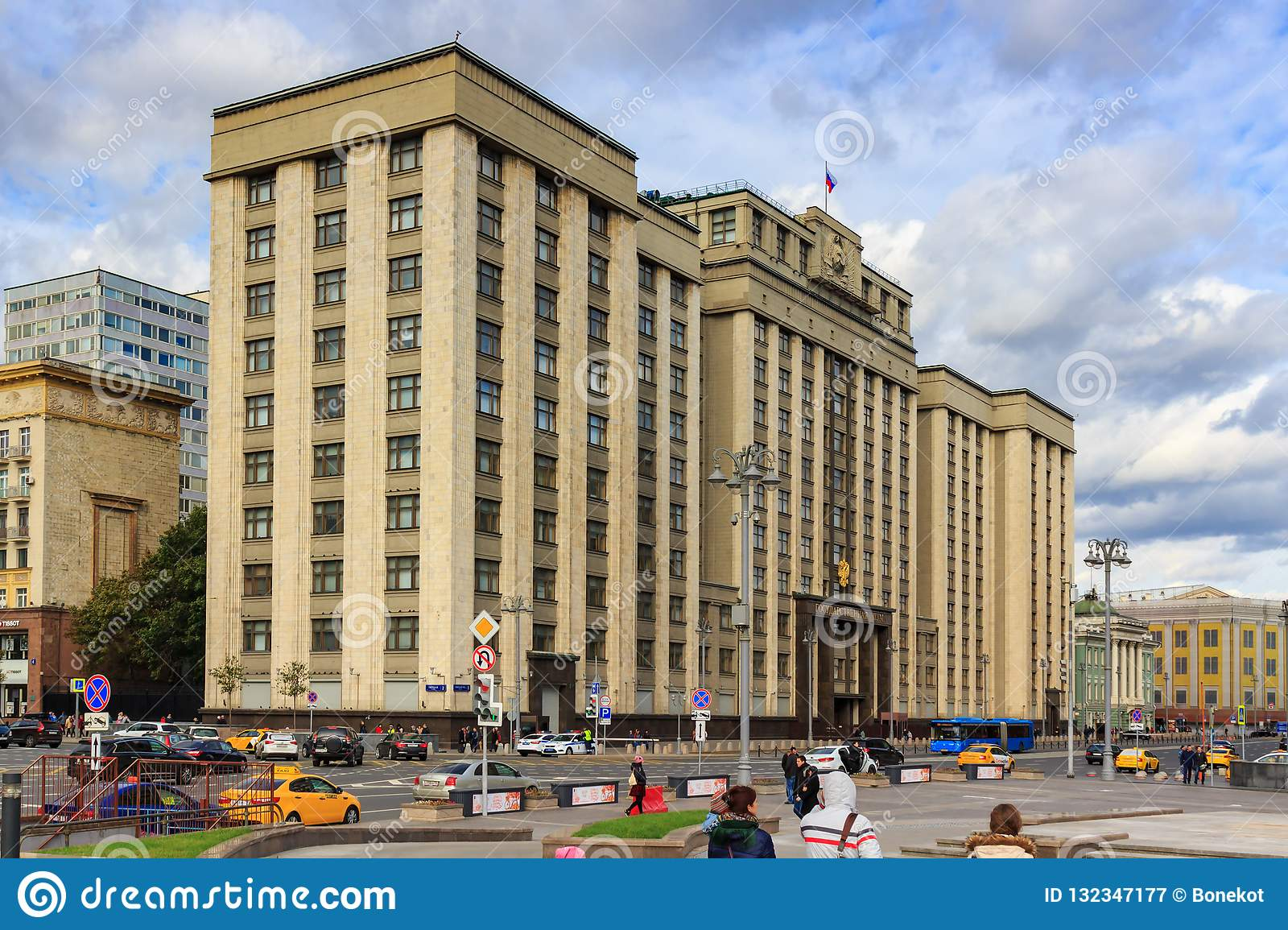 Moscow, Russia - September 30, 2018: Building of State Duma of Russian Federation in Moscow at cloudy autumn day. View from the