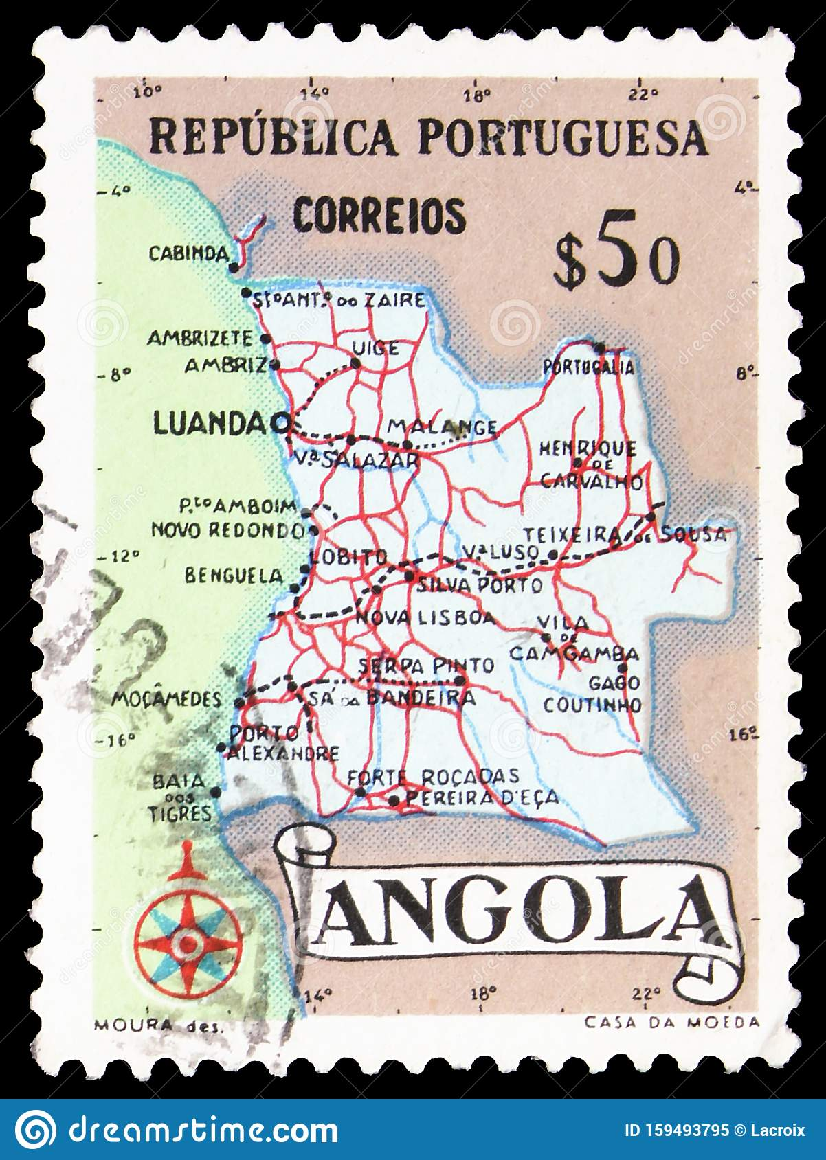 Map Of Angola Serie Circa 1955 Editorial Image Image Of Letter Stamp 159493795