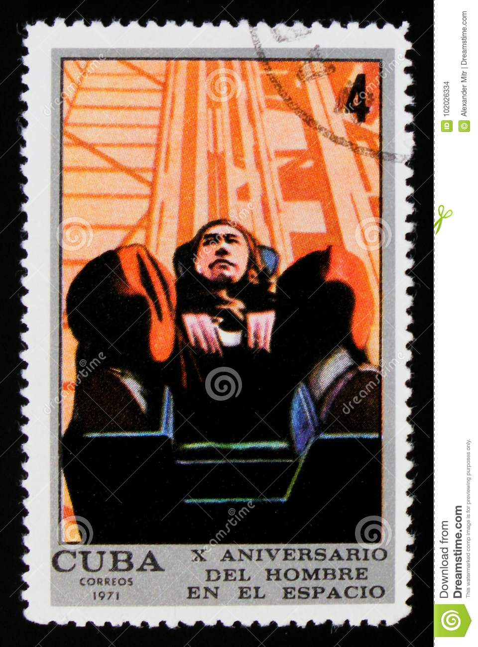 MOSCOW, RUSSIA - SEPTEMBER 3, 2017: A stamp printed in Cuba shows Acceleration test, 10 Years Crewed Spaceflight serie, circa 1971
