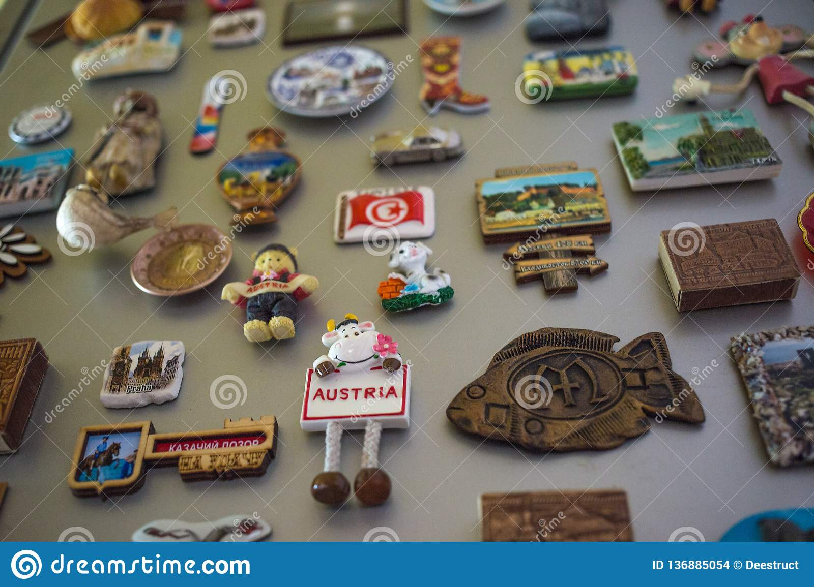 Moscow, Russia - 06 04 2018: souvenir magnets on the refrigerator door, the memory of travel