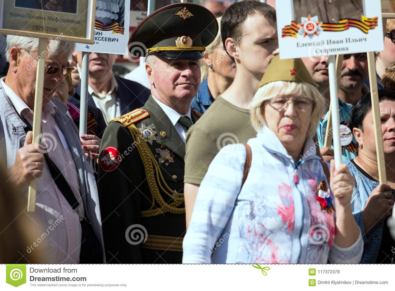 Immortal Regiment On Moscow Street  Thousands March To