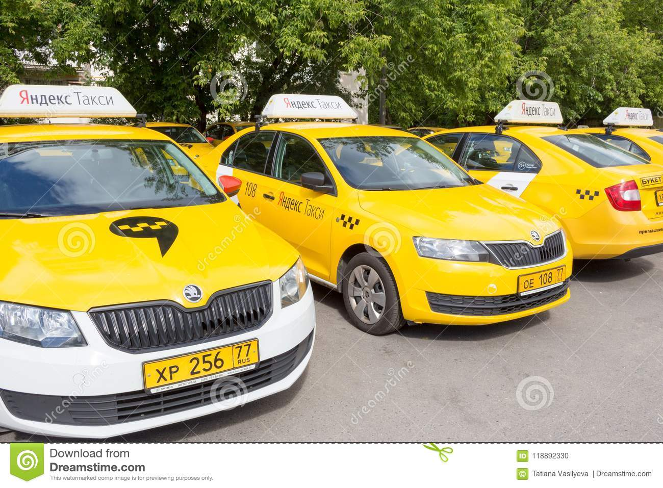 Moscow, Russia: Yandex Taxi Sign On The Roof Of The Car  Editorial