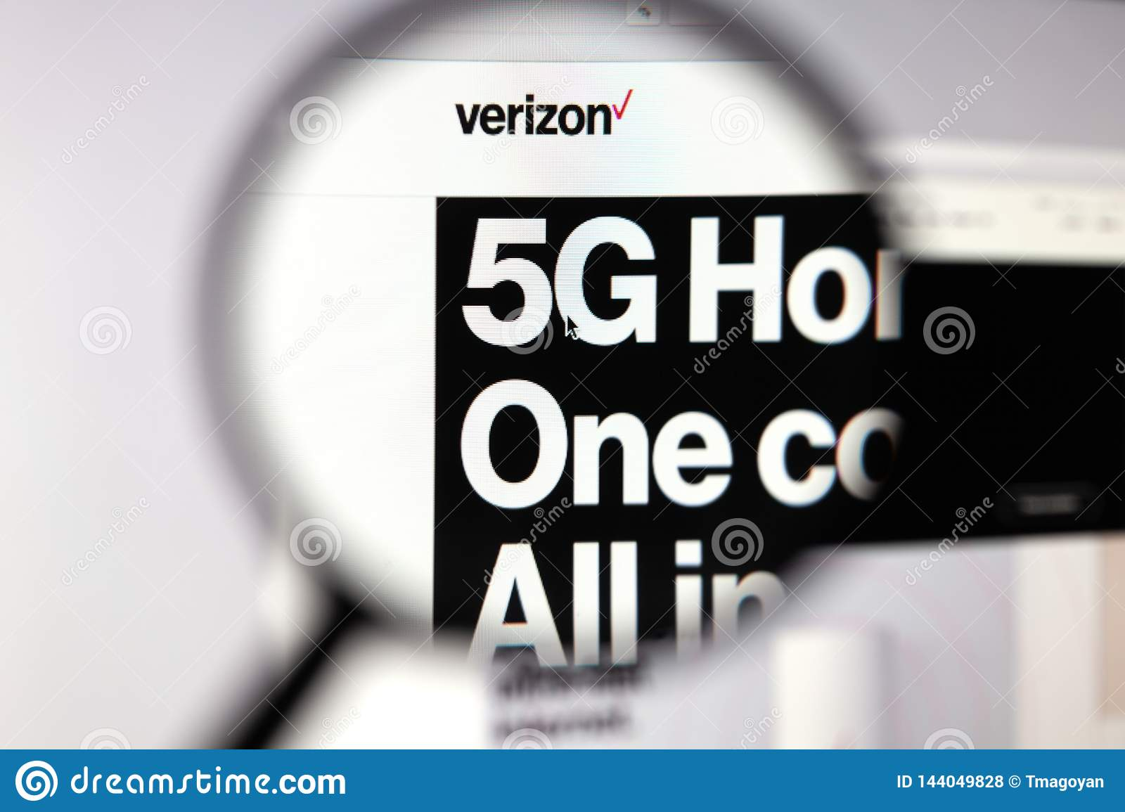 Moscow, Russian Federation - April 05, 2019; Verizon website homepage. 5G technology. View on page and Verizone logo through the